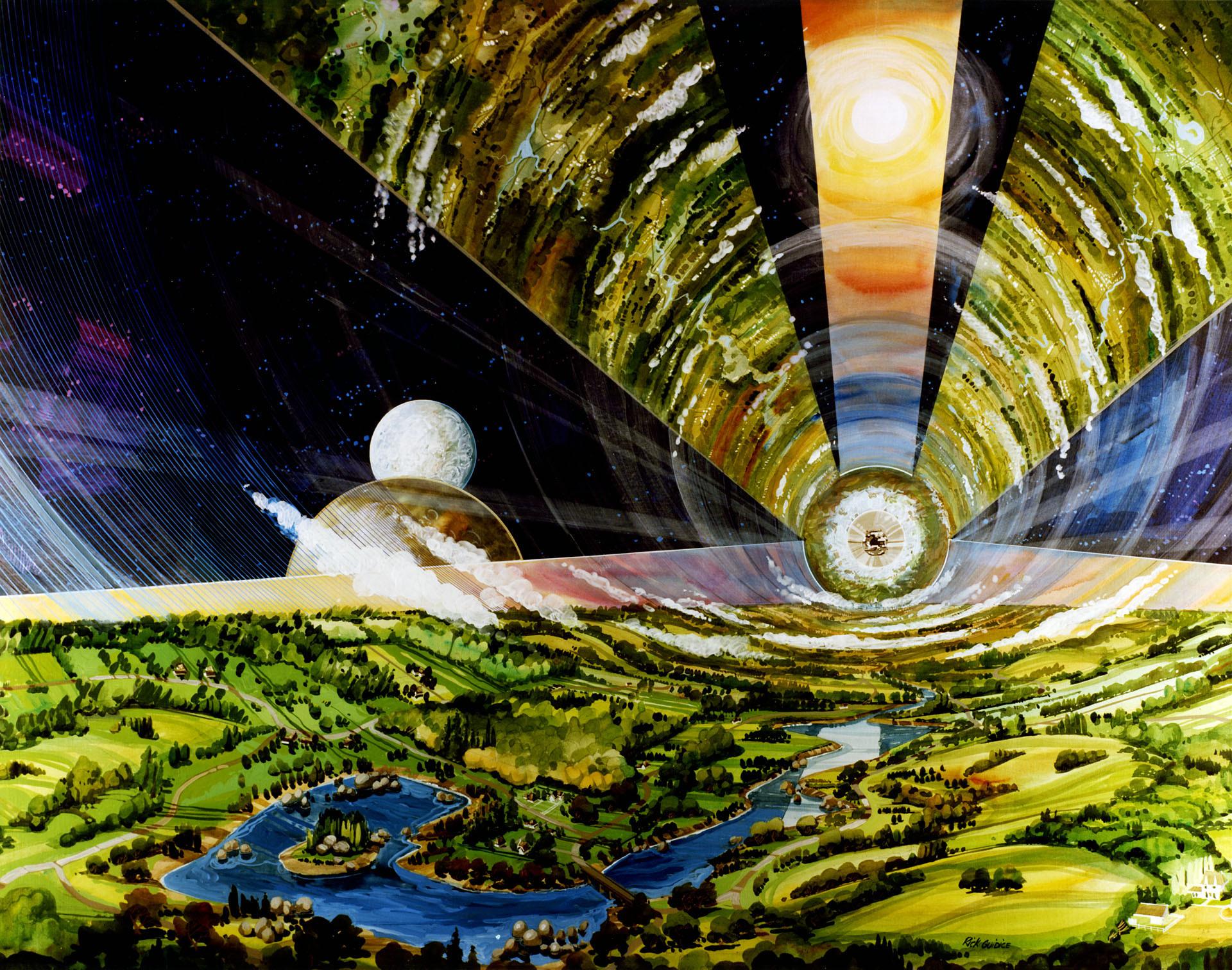 Zylinder-Kolonie im All für 1 Million Menschen Zeichnung: Rick Guidice NASA Ames Research Center