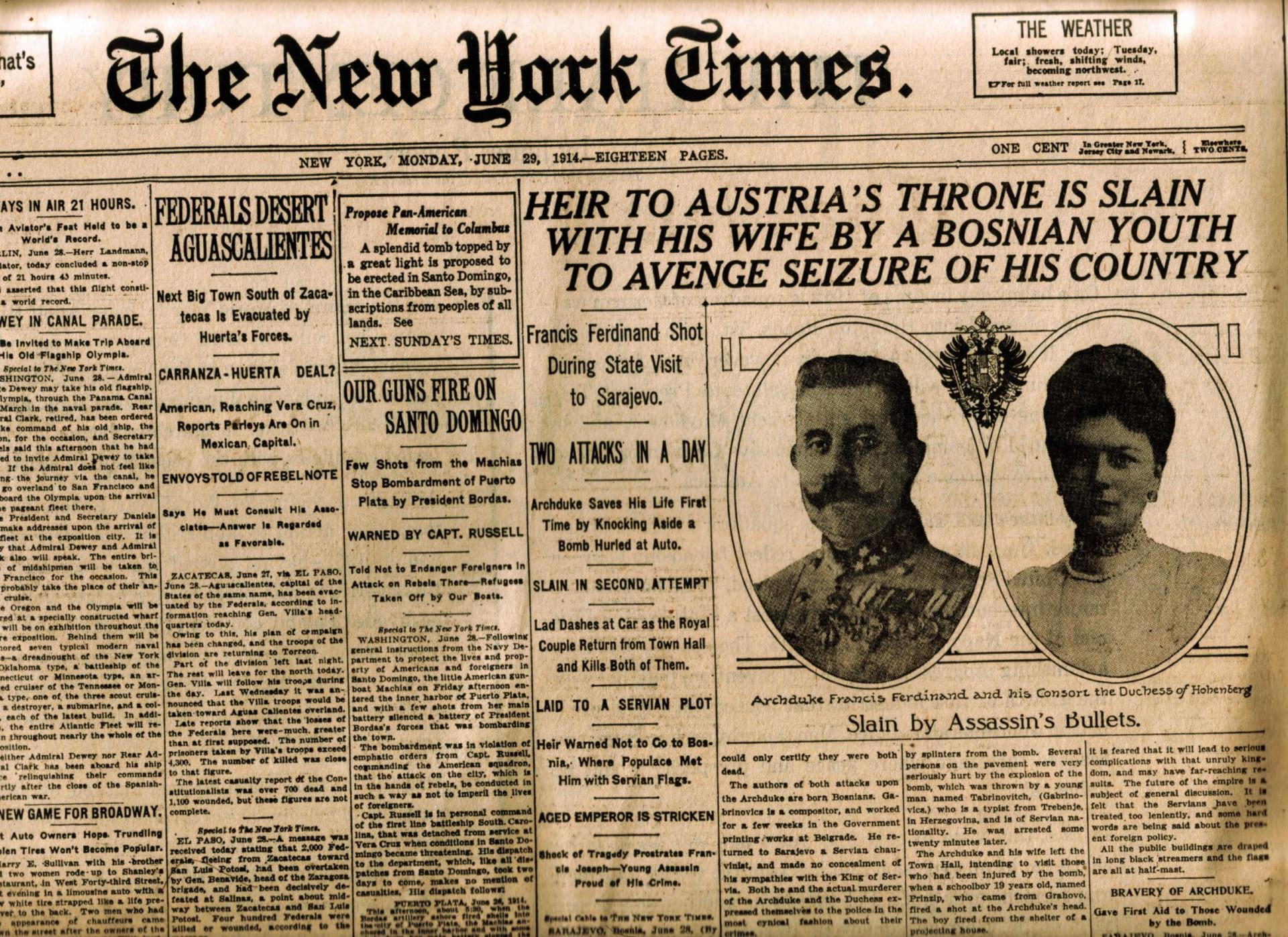 0054-01 NYT Headline June 29th 1914